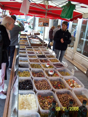 Olive selection (one vendor!) at Chagny market on Sundays.